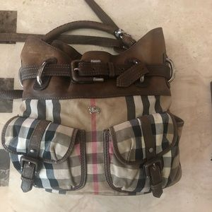 Burberry leather and print bag